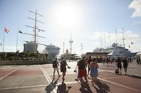Hafenpromenade am R.C: Whatley Pier von Philipsburg im niederländischen Teil von St. Maarten