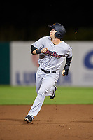 Scranton/Wilkes-Barre RailRiders designated hitter Bruce Caldwell (21) runs the bases during a game against the Syracuse Chiefs on June 14, 2018 at NBT Bank Stadium in Syracuse, New York.  Scranton/Wilkes-Barre defeated Syracuse 9-5.  (Mike Janes/Four Seam Images)