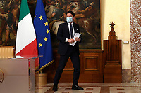 The Italian Prime Minister Giuseppe Conte wearing a face mask during the press conference about the Government decree banning travel at Christmas in order to contrast Covid-19 emergency.<br /> Rome (Italy), November 18th 2020<br /> Photo Pool Augusto Casasoli Insidefoto