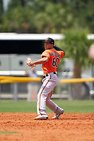 Baltimore Orioles AJ Graffanino (60) throws to first base during a Minor League Spring Training game against the Tampa Bay Rays on April 23, 2021 at Charlotte Sports Park in Port Charlotte, Florida.  (Mike Janes/Four Seam Images)