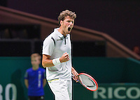 Februari 11, 2015, Netherlands, Rotterdam, Ahoy, ABN AMRO World Tennis Tournament, Robin Haase (NED) wins the first set and jubilates<br /> Photo: Tennisimages/Henk Koster