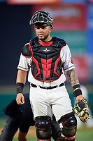 Rochester Red Wings catcher Juan Graterol (52) during a game against the Lehigh Valley IronPigs on June 30, 2018 at Frontier Field in Rochester, New York.  Lehigh Valley defeated Rochester 6-2.  (Mike Janes/Four Seam Images)