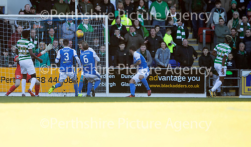 St Johnstone v Celtic…04.11.17…  McDiarmid Park…  SPFL<br />Scott Sinclair scores for Celtic<br />Picture by Graeme Hart. <br />Copyright Perthshire Picture Agency<br />Tel: 01738 623350  Mobile: 07990 594431