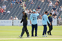 Jack Taylor of Gloucestershire raises his bat to celebrate reaching his fifty during Gloucestershire vs Essex Eagles, Royal London One-Day Cup Cricket at the Bristol County Ground on 3rd August 2021