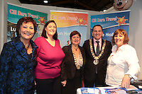 NO FEE PICTURES.25/1/13 Maureen Ledwith, Director Holiday World, Lord Mayor of Dublin is Naoise Ó Muirí and Clare Dunne, President ITAA with Grace Coffey and Rita Cosgrave at the Holiday World Show at the RDS, Dublin. Picture:Arthur Carron/Collins