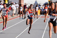 Florence Uwakwe competes in 4x100 relay quarterfinal during West Preliminary Track & Field Championships at John McDonnell Field in Fayetteville, AR, on May 31, 2014.