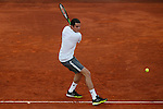 Milos Raonic from Canada celebrates his victory at Madrid Open tennis tournament match against Andy Murray from USA in Madrid, Spain. May 08, 2015. (ALTERPHOTOS/Victor Blanco)