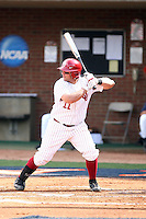 Cody Reine of the Oklahoma Sooners playing in Game Two of the NCAA Super Regional tournament against the Virginia Cavaliers at Charlottesville, VA - 06/13/2010. Oklahoma defeated Virginia, 10-7, to tie the series after two games.  Photo By Bill Mitchell / Four Seam Images