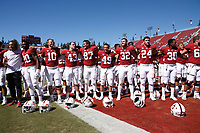 Stanford, CA - September 15, 2018: Team sings Alama Mater after the Stanford vs UC Davis football game Saturday at Stanford Stadium.<br /> <br /> The Cardinal scored 30. UC Davis 10.