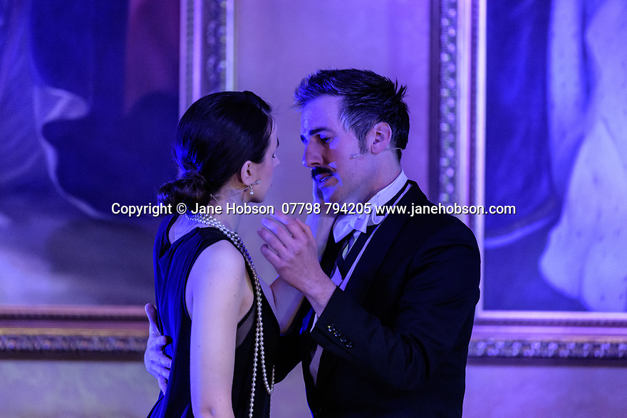 Brocket Hall, Hertfordshire, UK. 16.04.2021. Taylor-Gaunt Enterprises presents the streaming premiere of THE SORROWS OF SATAN, a musical play by Luke Bateman and Michael Conley, filmed at Brocket Hall. Directed by Adam Lenson, musical direction by Stefan Bednarczyk, produced by Alfred Taylor-Gaunt (Executive Producer) and Aisling Tara (Producer), with lighting design by Sam Waddington and Ben Jacobs, video design by Matt Powell, and costume and set design by Michael Conley. The cast is: Luke Bateman, Michael Conley, Stefan Bednarczyk, Molly Lynch. Photograph © Jane Hobson.