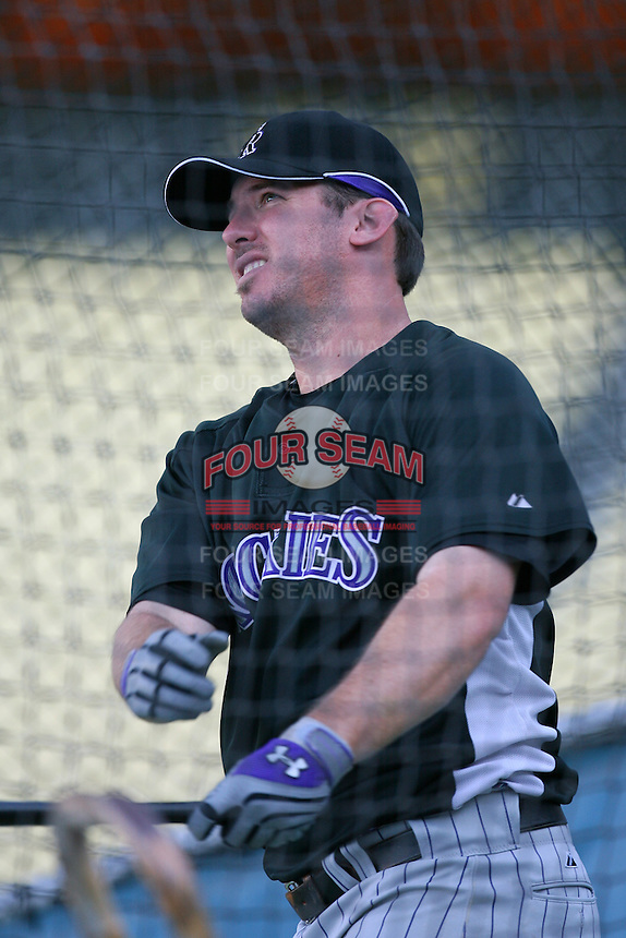 Garrett Atkins of the Colorado Rockies during batting practice before a game against the Los Angeles Dodgers in a 2007 MLB season game at Dodger Stadium in Los Angeles, California. (Larry Goren/Four Seam Images)