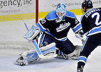 2 December 2011: University of Maine Black Bear goaltender Dan Sullivan, a Sophomore from York, PA, makes a skate save against the University of Vermont Catamounts at Gutterson Fieldhouse in Burlington, Vermont. The Catamounts fell to the Black Bears 6-4 in the first game of their 2-game Hockey East weekend series. Mandatory Credit: Ed Wolfstein Photo
