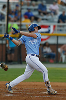 Burlington Royals first baseman Rhett Aplin (33) at batduring a game against the Kingsport Mets at Burlington Athletic Complex on July 28, 2018 in Burlington, North Carolina. Burlington defeated Kingsport 4-3. (Robert Gurganus/Four Seam Images)