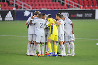 WASHINGTON, DC - AUGUST 25: New England Revolution in the huddle during a game between New England Revolution and D.C. United at Audi Field on August 25, 2020 in Washington, DC.