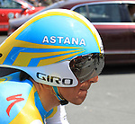 Paolo Tiralongo (Astana) before the start of Stage 19 of the 2010 Tour de France from Bordeaux to Pauillac, 24th July 2010 (Photo by Steven Franzoni/NEWSFILE)