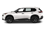 Car Driver side profile view of a 2021 Nissan Rogue S 5 Door SUV Side View