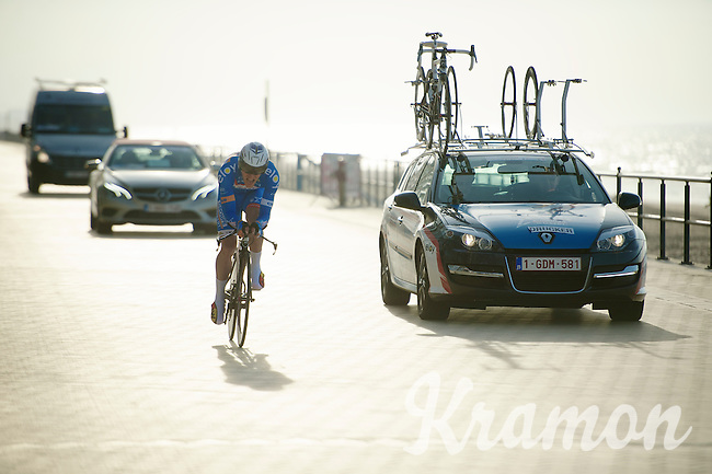Jempy Drucker (LUX) racing next to the beach<br /> <br /> 3 Days of West-Flanders 2014<br /> day 1: TT/prologue Middelkerke 7,0 km