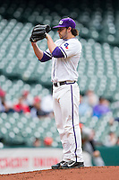 Texas Christian Horned Frogs starting pitcher Brandon Finnegan #29 looks to his catcher for the sign against the Sam Houston State Bearkats at Minute Maid Park on February 28, 2014 in Houston, Texas.  The Bearkats defeated the Horned Frogs 9-4.  (Brian Westerholt/Four Seam Images)