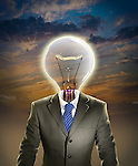 Illustrative image of businessman with light bulb representing leadership