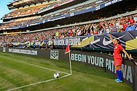 PHILADELPHIA, PA - AUGUST 29: Christen Press #23 of the United States prepares to take a corner kick during a game between Portugal and USWNT at Lincoln Financial Field on August 29, 2019 in Philadelphia, PA.