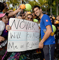 KEY BISCAYNE, FL - MARCH 28: Novak Djokovic of Serbia practices with coach Boris Becker during Day 6 of the Miami Open at Crandon Park Tennis Center on March 28, 2015 in Key Biscayne, Florida<br /> <br /> <br /> People:  Novak Djokovic<br /> <br /> Transmission Ref:  FLXX<br /> <br /> Must call if interested<br /> Michael Storms<br /> Storms Media Group Inc.<br /> 305-632-3400 - Cell<br /> 305-513-5783 - Fax<br /> MikeStorm@aol.com