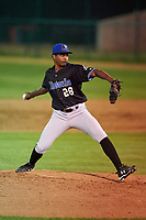 Missoula Osprey relief pitcher Jhonny Valdez (28) during a Pioneer League game against the Great Falls Voyagers at Centene Stadium at Legion Park on August 19, 2019 in Great Falls, Montana. Missoula defeated Great Falls 1-0 in the second game of a doubleheader. (Zachary Lucy/Four Seam Images)