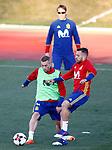 Spain's coach Julen Lopetegui (t), Gerard Deulofeu (l) and Jordi Alba during training session. March 20,2017.(ALTERPHOTOS/Acero)