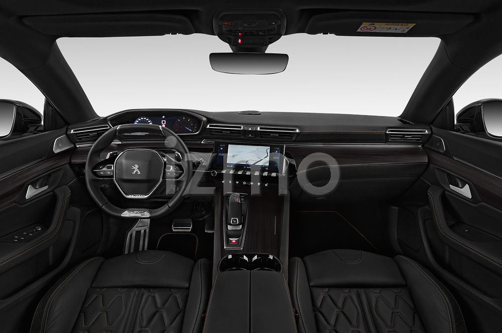 Stock photo of straight dashboard view of a 2019 Peugeot 508 First Edition 5 Door Wagon