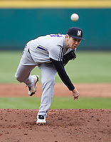 Zach Morton (14) of the Northwestern Wildcats delivers a pitch during a game against the Missouri State Bears at Hammons Field on March 8, 2013 in Springfield, Missouri. (David Welker/Four Seam Images)
