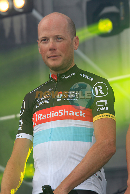 Radioshack-Nissan team rider Chris Horner (USA) on stage at the Team Presentation Ceremony before the 2012 Tour de France in front of The Palais Provincial, Place Saint-Lambert, Liege, Belgium. 28th June 2012.<br /> (Photo by Eoin Clarke/NEWSFILE)