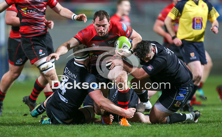 Friday 8th February 2019 | First Trust Ulster Senior Cup Final<br /> <br /> Andrew Willis on the attack for Armagh is tackled by David Whann and Nacho Cladera during the First Trust Ulster Senior Cup Final between Armagh and Ballymena at Kingspan Stadium, Ravenhill Park, Belfast, Northern Ireland. Photo by John Dickson / DICKSONDIGITAL