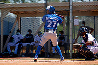 Toronto Blue Jays Rikelin De Castro (27) bats during a Minor League Spring Training game against the Detroit Tigers on April 22, 2021 at Tigertown in Lakeland, Florida.  (Mike Janes/Four Seam Images)