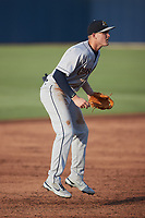 Charleston RiverDogs third baseman Curtis Mead (16) on defense against the Kannapolis Cannon Ballers at Atrium Health Ballpark on June 29, 2021 in Kannapolis, North Carolina. (Brian Westerholt/Four Seam Images)