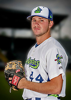 13 June 2018: Vermont Lake Monsters pitcher Brandon Withers poses for a portrait on Photo Day at Centennial Field in Burlington, Vermont. The Lake Monsters are the Single-A minor league affiliate of the Oakland Athletics, and play a short season in the NY Penn League Stedler Division. Mandatory Credit: Ed Wolfstein Photo *** RAW (NEF) Image File Available ***