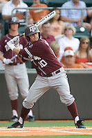 Texas A&M Aggies catcher Kevin Gonzalez #6 at bat against the Texas Longhorns in NCAA Big XII Conference baseball on May 21, 2011 at Disch Falk Field in Austin, Texas. (Photo by Andrew Woolley / Four Seam Images)