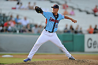 Tennessee Smokies starting pitcher Eric Jokisch #17 delivers a pitch during game three of the Southern League Northern Division Championship Series against the Birmingham Barons at Smokies Park on September 7, 2013 in Kodak, Tennessee. The Smokies won the game 9-2. (Tony Farlow/Four Seam Images)