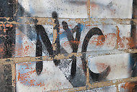 Detail of a Brick Wall with Graffiti, Mechanic's Alley, Chinatown, Lower Manhattan, New York City, New York State, USA<br />