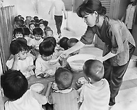 1973 FILE PHOTO -  <br /> <br /> Viet Nam orphans such as these can be helped by the donation of unneeded family allowance cheques; suggests one reader in accompanying letter. Students at Montessori school will help the Govap orphans however possible; says the school director in another letter