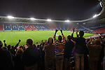 Queen's Park 1 Alloa Athletic 0, 01/12/2007. Hampden Park, Scottish League Two. Home supporters celebrating Queen's Park's victory over Alloa Athletic in a Scottish League second division match at Hampden Park, Glasgow, in front of 600 fans at the national stadium, also used by Scotland. The home team won by one goal to nil with a goal by Alan Trouten in the 88th minute. Queen's Park, founded in1867, are currently trying to become only the third FIFA Order of Merit club after Real Madrid and Sheffield FC. Photo by Colin McPherson.