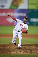 Salem Red Sox relief pitcher Joan Martinez (25) delivers a pitch during a game against the Lynchburg Hillcats on May 10, 2018 at Haley Toyota Field in Salem, Virginia.  Lynchburg defeated Salem 11-5.  (Mike Janes/Four Seam Images)