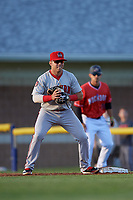 Auburn Doubledays first baseman Anthony Peroni (5) waits for a throw during a NY-Penn League game against the Batavia Muckdogs on June 14, 2019 at Dwyer Stadium in Batavia, New York.  Batavia defeated 2-0.  (Mike Janes/Four Seam Images)