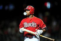 Jun. 1, 2011; Phoenix, AZ, USA; Arizona Diamondbacks outfielder Justin Upton in the first inning against the Florida Marlins at Chase Field. Mandatory Credit: Mark J. Rebilas-