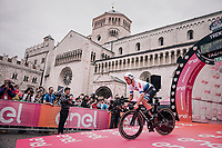 European TT champion Victor Campenaerts (BEL/Lotto-Soudal) at the start of the iTT<br /> <br /> stage 16: Trento – Rovereto iTT (34.2 km)<br /> 101th Giro d'Italia 2018
