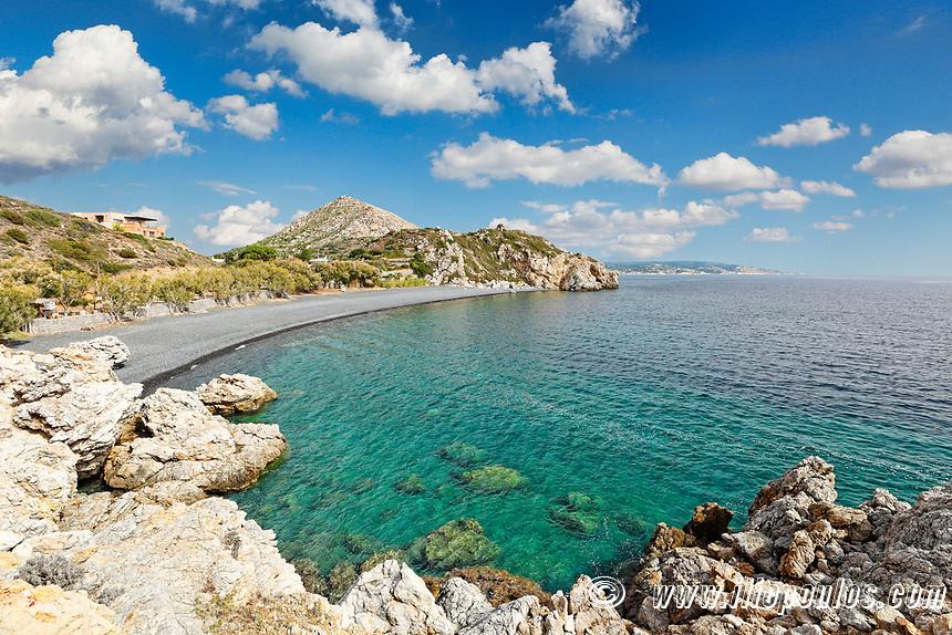 The famous beach Mavra Volia in Chios island, Greece