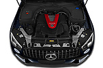 Car Stock 2021 Mercedes Benz GLC AMG-43 5 Door SUV Engine  high angle detail view