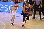 Liga ACB-ENDESA 2020/2021. Game: 26.<br /> FC Barcelona vs Casademont Zaragoza: 107-88.<br /> Adam Hanga vs Javier Garcia.