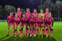 Charleroi's players with Ambre Collet , Delphine Preaux , Ines Dhaou , Ylenia Carabott , Madison Hudson , Ludmila Matavkova , Noemie Fourdin ,  Estelle Dessilly , Renate-Ly Mehevets , Jessica Silva Valdebenito and Megane Vos pictured posing for the teampicture during a female soccer game between  AA Gent Ladies and Sporting Charleroi Feminin on the fifth matchday of the 2020 - 2021 season of Belgian Scooore Womens Super League , friday 16 th of October 2020  in Oostakker , Belgium . PHOTO SPORTPIX.BE | SPP | DAVID CATRY