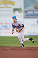 Hudson Valley Renegades second baseman Garrett Giovannelli (4) during a game against the Connecticut Tigers on August 20, 2018 at Dodd Stadium in Norwich, Connecticut.  Hudson Valley defeated Connecticut 3-1.  (Mike Janes/Four Seam Images)