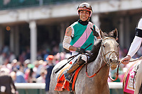 30th April 2021; Kentucky, USA;  Jockey  Jose L. Ortiz rides Obligatory (7) to victory winning race 9, The Eight Belles   during Oaks Day on April 30th, 2021 at Church Hill Downs in Louisville, KT.
