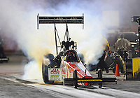 Aug. 31, 2012; Claremont, IN, USA: NHRA top fuel dragster driver Doug Kalitta during qualifying for the US Nationals at Lucas Oil Raceway. Mandatory Credit: Mark Rebilas-